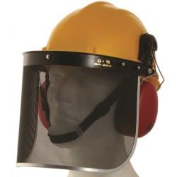 Cască de protecție cu vizor din plasă metalică pentru lucrul cu motofierăstrăul electric, KM1504152