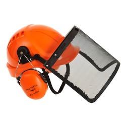 Cască de protecție cu vizor din plasă metalică pentru lucrul cu motofierăstrăul electric, FORESTRY COMBI PW98