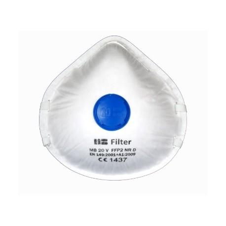 Semi-mască de protecție tip cupă cu supapă, MB 20 V FFP2 NR D